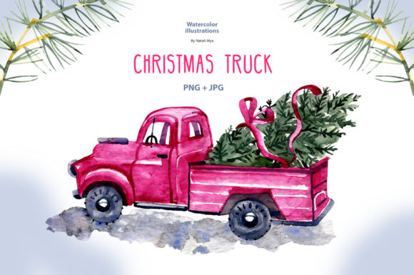 Watercolor Christmas Truck Graphic Illustrations By NataliMyaStore