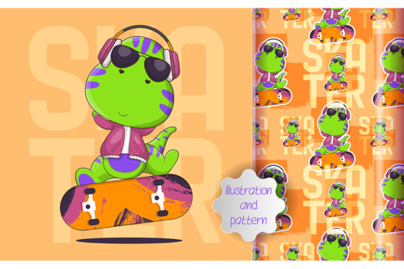 Cute Dino Skater and Pattern Graphic Illustrations By maniacvector