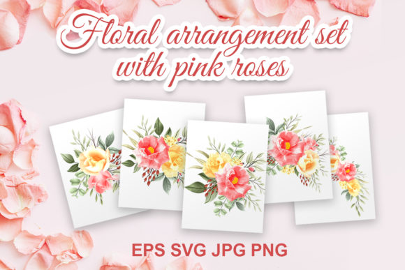 Print on Demand: Floral Arrangement Set with Pink Roses Graphic Illustrations By AzrielMch