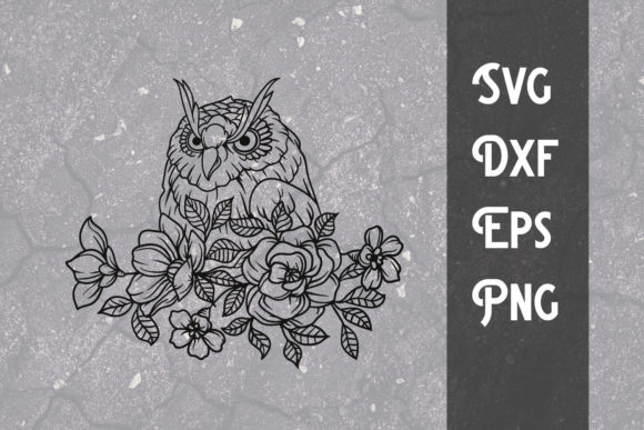Print on Demand: Hand Drawing Flower Owl Svg Cut File Graphic Print Templates By dadan_pm