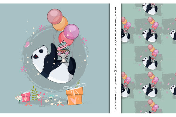 Little Panda Flying with Balloons Graphic Illustrations By maniacvector