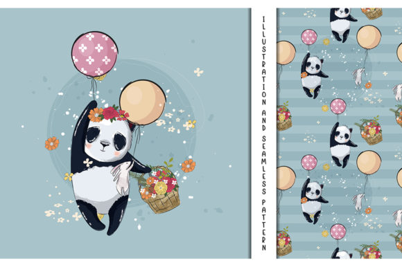 Little Panda with Balloons Illustration Graphic Illustrations By maniacvector