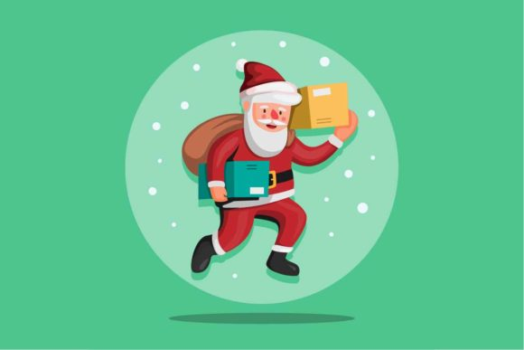 Print on Demand: Santa Claus Carrying Package Christmas Graphic Illustrations By aryo.hadi