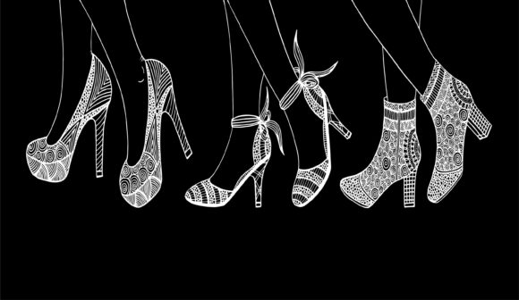Set of Women High Heels Shoe Silhouette Graphic Illustrations By Santy Kamal
