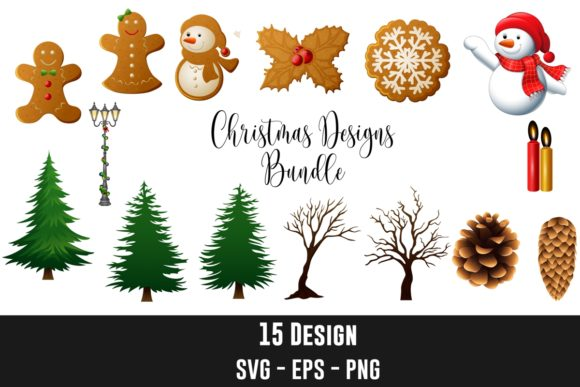 15 Christmas Elements Design Clipart Graphic Illustrations By creation