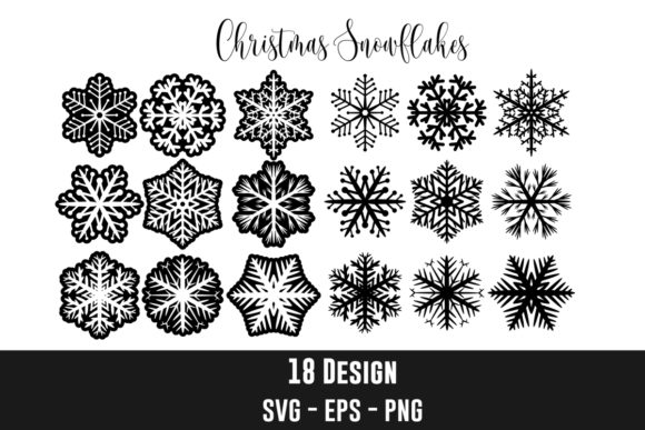 18 Snowflakes Silhouette Clipart Graphic Crafts By creation
