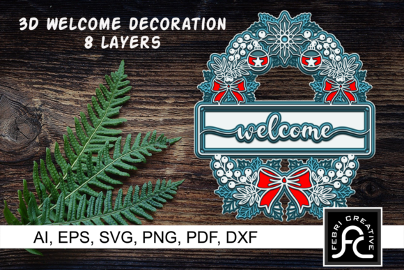 Print on Demand: 3d Christmas Welcome Decorations - SVG Graphic 3D Christmas By Febri Creative