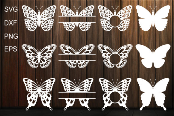 Print on Demand: Butterfly Monogram Frame, Butterfles Graphic Crafts By yulnniya