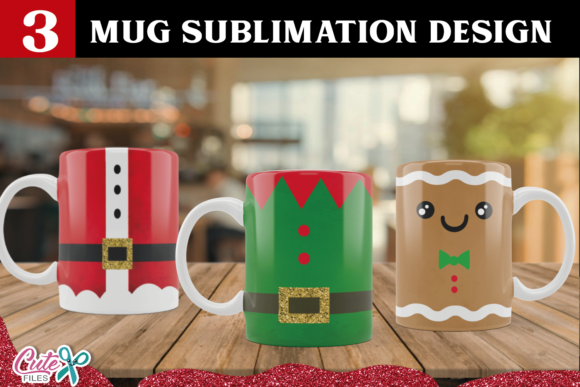 Christmas Mug Sublimation Design Set Graphic Print Templates By Cute files