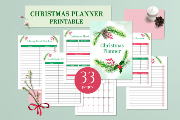 Christmas Printable Planner PDF Graphic Print Templates By lena-dorosh