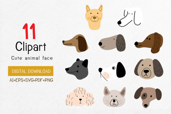 Print on Demand: Clip Art,Many Breeds of Cute Dog Faces Graphic Illustrations By Saydung89