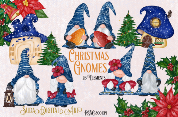 Print on Demand: Cute Blue Gnomes Christmas  Clipart Graphic Illustrations By Suda Digital Art
