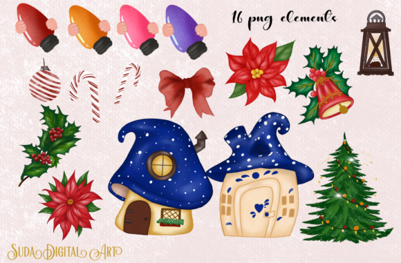 Cute Blue Gnomes Christmas  Clipart Graphic Download
