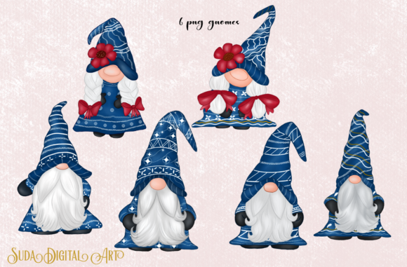 Cute Blue Gnomes Christmas  Clipart Graphic Item