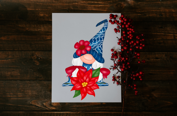 Cute Blue Gnomes Christmas  Clipart Graphic Image