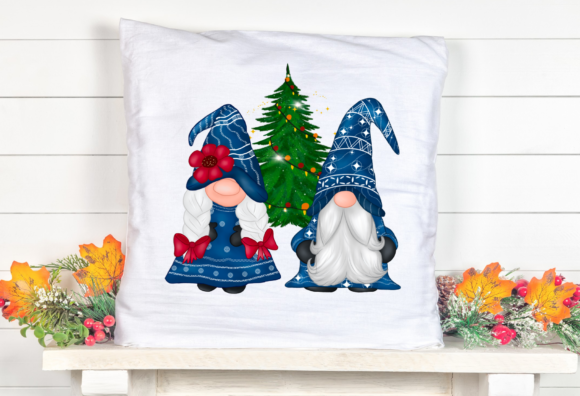 Cute Blue Gnomes Christmas  Clipart Graphic Design Item