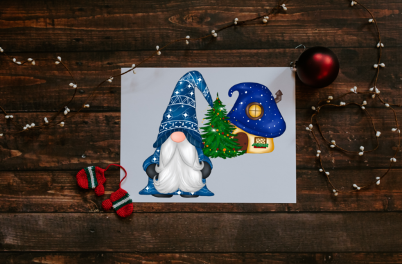 Cute Blue Gnomes Christmas  Clipart Graphic Downloadable Digital File