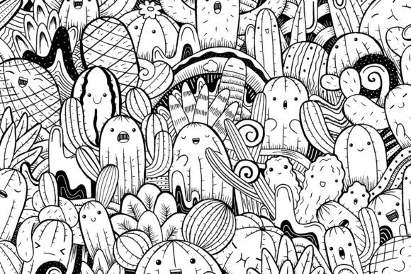 Cute Cactus Doodle Art Graphic Coloring Pages & Books By medzcreative