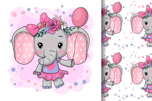 Cute Cartoon Elephant with Flowers Graphic Illustrations By maniacvector