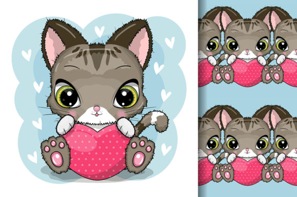 Cute Cartoon Kitten with Heart Isolated Graphic Illustrations By maniacvector