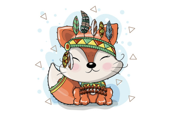 Cute Cartoon Tribal Fox with Feathers Graphic Illustrations By maniacvector
