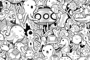 Cute Sea Doodle Art Graphic Coloring Pages & Books By medzcreative