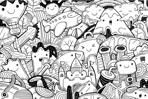 Cute Travelling Doodle Art Graphic Coloring Pages & Books By medzcreative