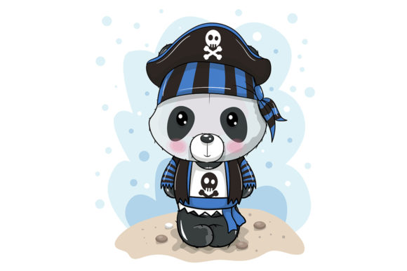 Cute Cartoon Panda in a Pirate Hat Graphic Illustrations By maniacvector