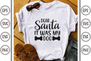 Print on Demand: Dog Christmas SVG Design, Dear Santa It Graphic Print Templates By GraphicsBooth