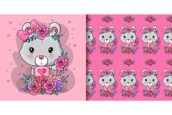 Greeting Card Bear with Flower and Heart Graphic Illustrations By maniacvector