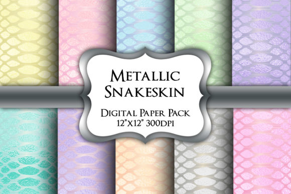 Print on Demand: Metallic Snakeskin Digital Paper Pack Graphic Backgrounds By Party Pixelz