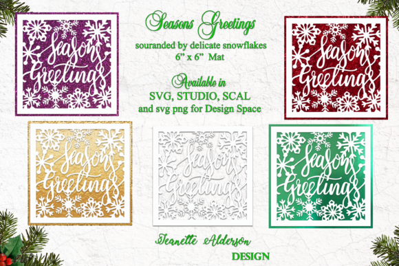 Seasons Greetings Snowflake Cutting File Graphic Crafts By jeanette.alderson