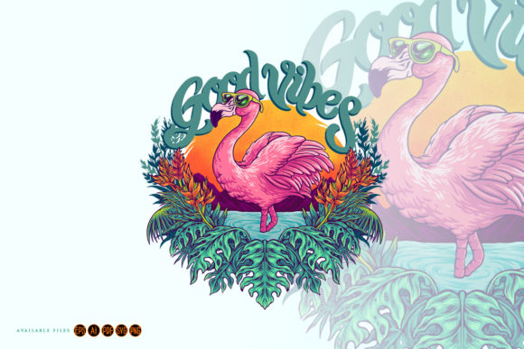 Print on Demand: Tropical Pink Flamingo Flowers Summer Graphic Illustrations By artgrarisstudio