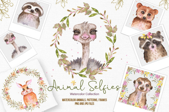 Print on Demand: Watercolor Animal Selfies Graphic Illustrations By tanatadesign