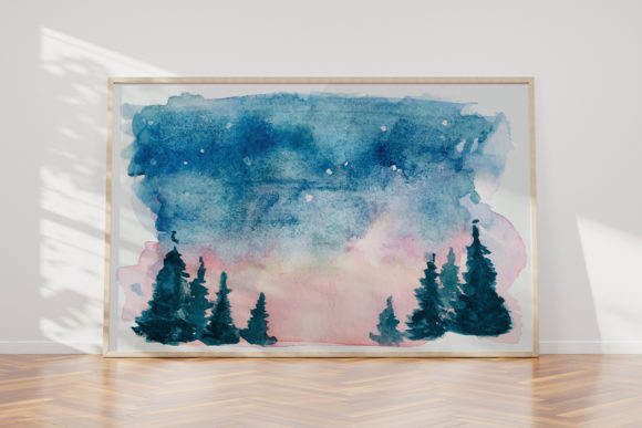 Print on Demand: Watercolor Clip Art Mountain Scenery Graphic Illustrations By Saydung89