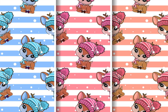Cute Deer Seamless Pattern Design Graphic Illustrations By maniacvector