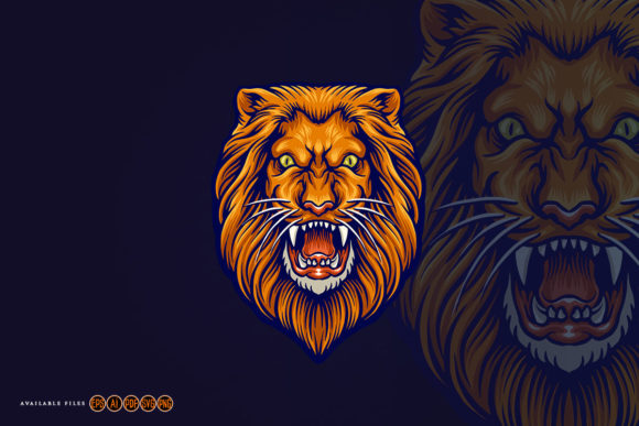 Print on Demand: Angry Lion Head Mascot Graphic Crafts By artgrarisstudio