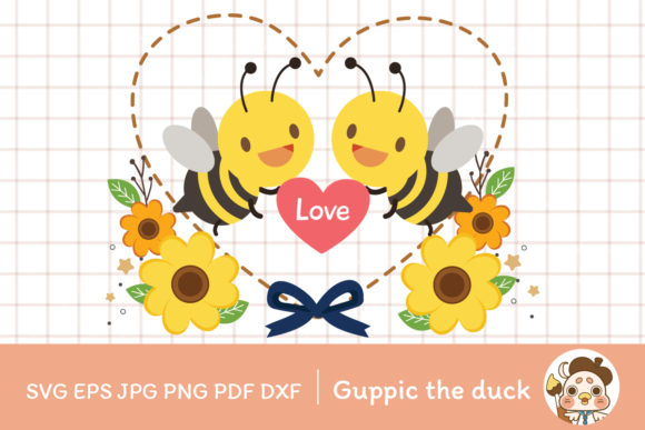 Bee with Love 02 with Clipart for Gift I Graphic Illustrations By Guppic the duck