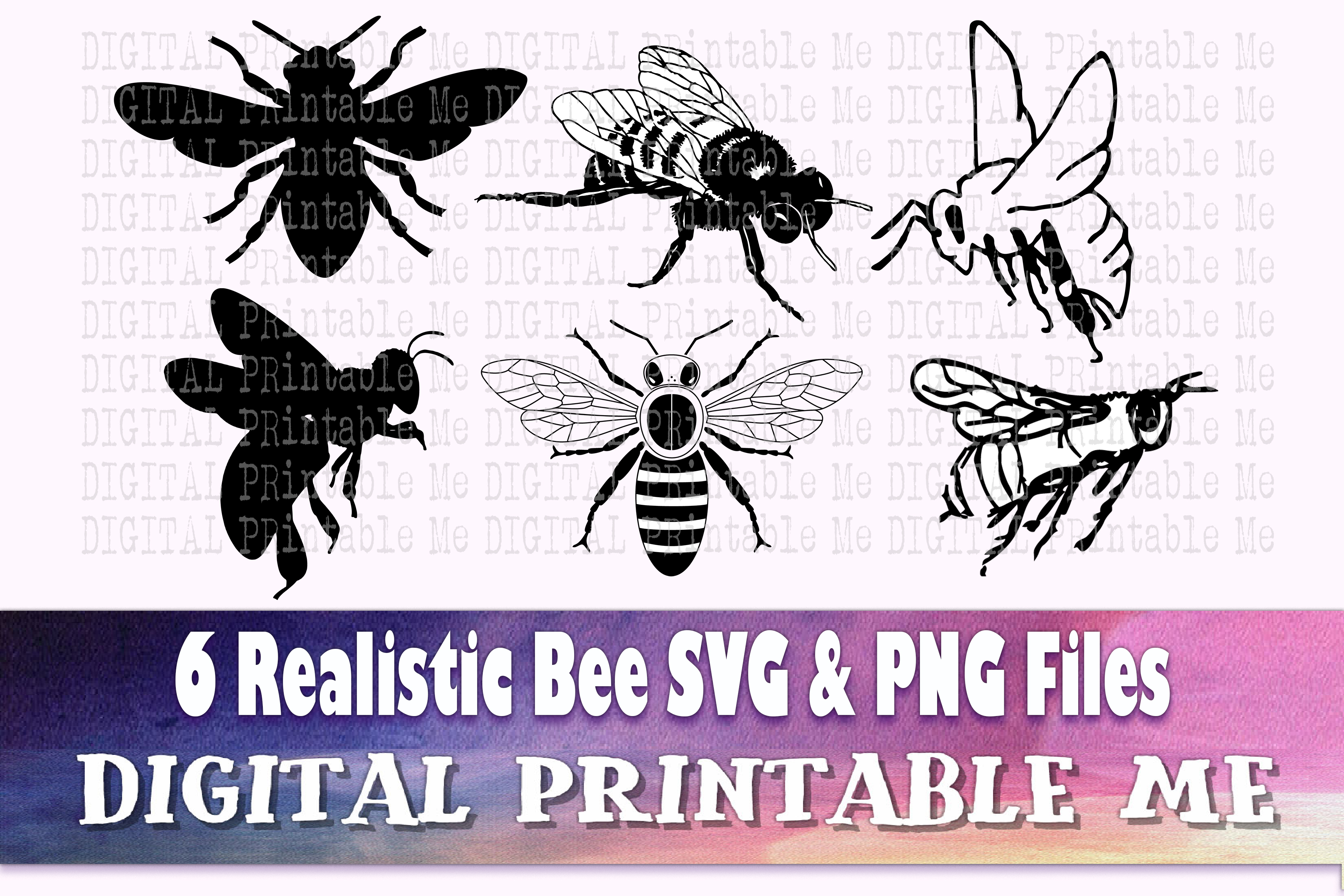 Bees Svg Bundle Realistic Bee Silhouette SVG File