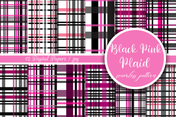 Black Pink Plaid Seamless Pattern Graphic Patterns By PinkPearly