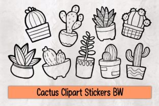 Print on Demand: Cactus Clipart Stickers BW Graphic Illustrations By 18 Curo caT
