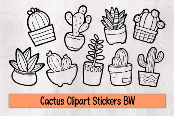 Print on Demand: Cactus Clipart Stickers BW Graphic Illustrations By Gii Digital Art