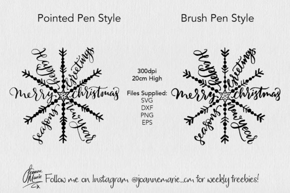 Print on Demand: Calligraphy Snowflake Christmas Svg Graphic Objects By joanne.hewitt