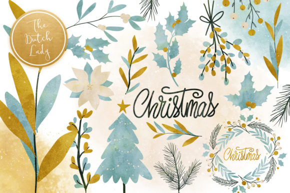Print on Demand: Christmas Greenery Clipart Set Graphic Illustrations By daphnepopuliers
