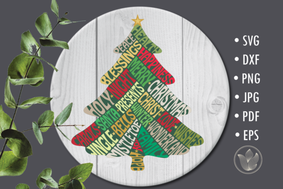 Christmas Tree Svg Cut File, Lettering D Graphic Crafts By PrettyDD