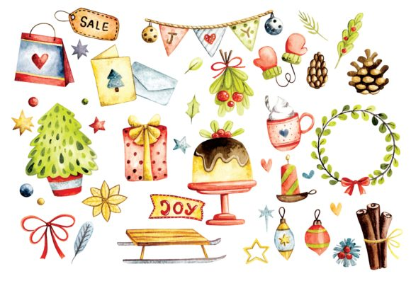 Christmas Decoration Watercolor Vector Graphic Illustrations By Big Barn Doodles