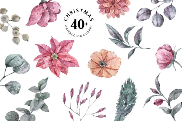 Print on Demand: Christmas Plants Clipart. Watercolor Set Graphic Illustrations By Tiana Geo