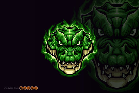 Print on Demand: Crocodile Mascot Aggresivve Graphic Illustrations By artgrarisstudio