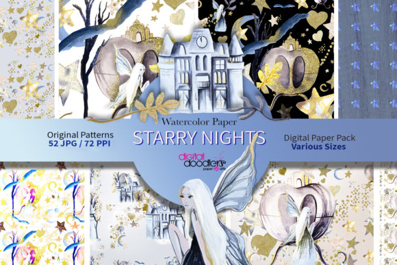 Print on Demand: Glitter Starry Nights Digital Paper Graphic Patterns By Digital Doodlers