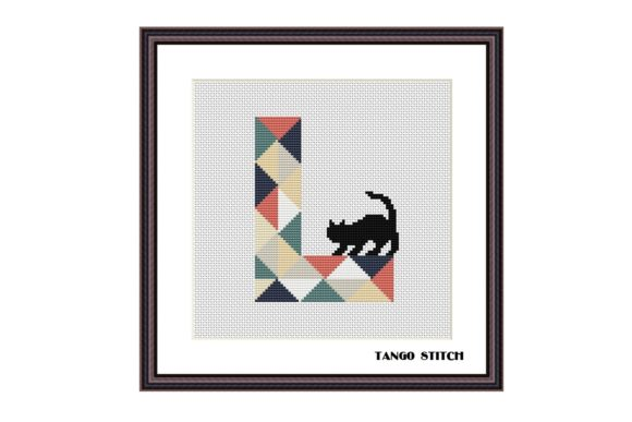 Letter L and Curious Cat Cross Stitch Graphic Cross Stitch Patterns By Tango Stitch